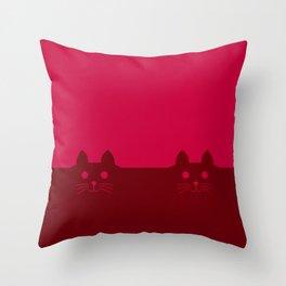 Meow Cat Red Pink Throw Pillow