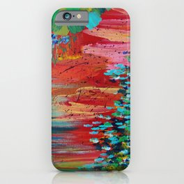 REVISIONED RETRO - Bright Bold Red Abstract Acrylic Colorful Painting 70s Vintage Style Hip 2012 iPhone Case