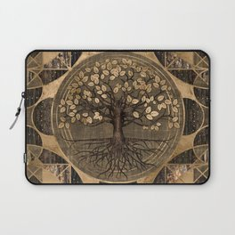Tree of life - Yggdrasil - Wood and Gold Laptop Sleeve
