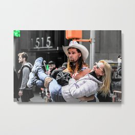 Black and colour Cowboy New York City ArtWok Metal Print