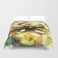 oil Duvet Covers featuring Oil cubes by Tony Vazquez
