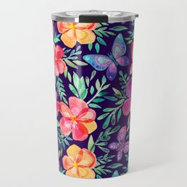 Summer Blooms & Butterflies on Dark Purple Travel Mug