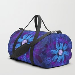 A Snowy Edelweiss Blooming as a Blue Origami Orchid Duffle Bag