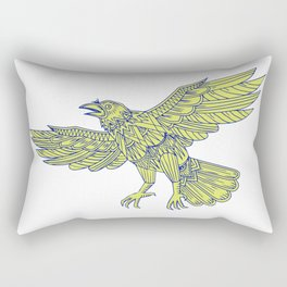 Common Raven Flying Mandala Rectangular Pillow