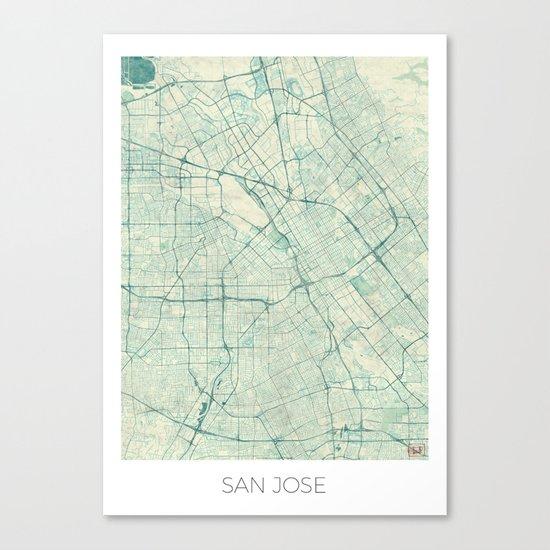San Jose Map Blue Vintage Canvas Print