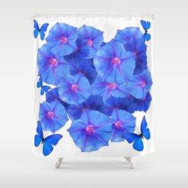 BLUE MORNING GLORIES & BLUE BUTTERFLY GARDEN Shower Curtain