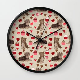 Chocaolate Yorkie yorkshire terrier dog breed custom pet portrait for valentines day dog lover pets Wall Clock