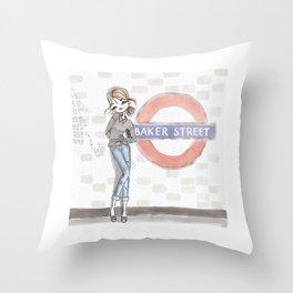 Woman at Baker Street Throw Pillow