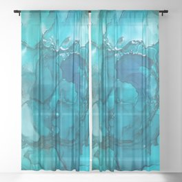 The Tempest (Alcohol ink Abstract Art) Sheer Curtain