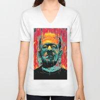 frankenstein V-neck T-shirts featuring Frankenstein by nicebleed