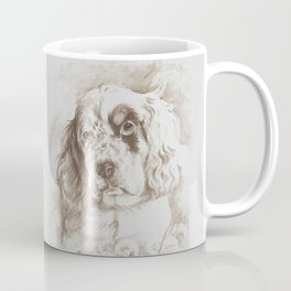 English Setter puppy Monochrome sgraffito Coffee Mug