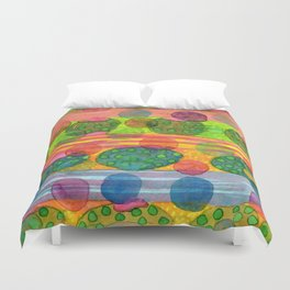 Round Shapes within and above horizontal Stripes Duvet Cover