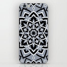 'Immortal Spirit' Dusty Blue Black & White Mandala Design iPhone Skin