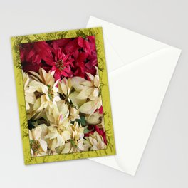 Red and White Christmas Poinsettias Digital Art Stationery Cards