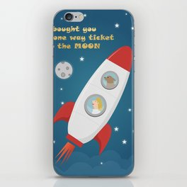 Ticket To The Moon iPhone Skin