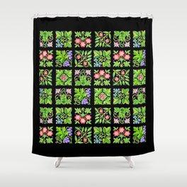 Tudor Flower Parterre Shower Curtain