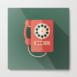 Retro Payphone Metal Print