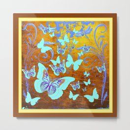 Coffee Brown Celadon Color Butterflies Abstract & Yellow Metal Print