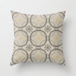 Stitched Bubbles Beige Throw Pillow