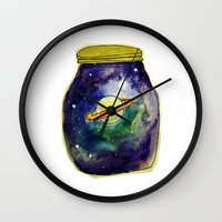 saturn Wall Clocks featuring Saturn  by Mazz Louise
