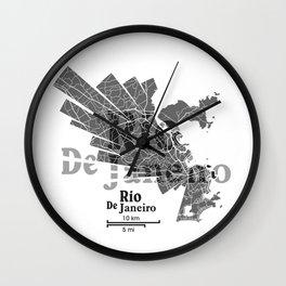 Rio De Janeiro Map Wall Clock