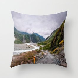 Waiho River Valley Panorama from the trail to Franz Josef Glacier in New Zealand. Throw Pillow
