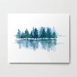 Smoky Mountain Trees Reflected Metal Print