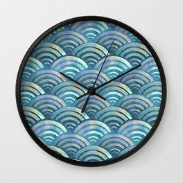 Blue fish scales pattern Wall Clock