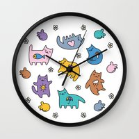 kittens Wall Clocks featuring Kittens by Plushedelica