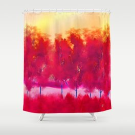 Sunset in Fall Abstract Landscape Shower Curtain