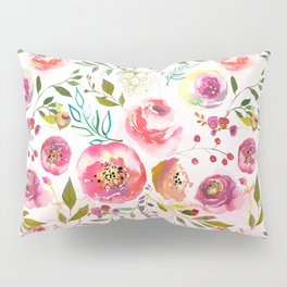 blush pink peonies watercolor fuchsia flowers Pillow Sham