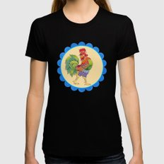 Rise and Shine Rooster Black Womens Fitted Tee SMALL
