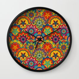 Funky Retro Pattern Mandalas Wall Clock