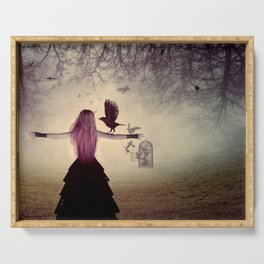 Dark foggy scene with witch woman with crows Serving Tray