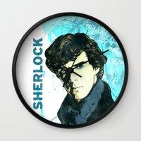 sherlock holmes Wall Clocks featuring Sherlock Holmes by illustratemyphoto