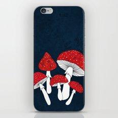 Red mushrooms field on navy blue iPhone & iPod Skin