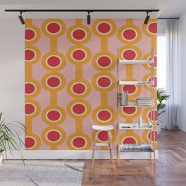dumbbells yellow  #midcenturymodern Wall Mural