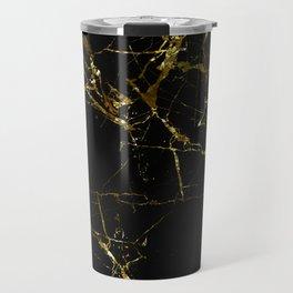 Golden Marble - Black and gold marble pattern, textured design Travel Mug