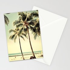 Retro Vintage Palm Tree with Hawaii Summer Sea Beach Stationery Cards