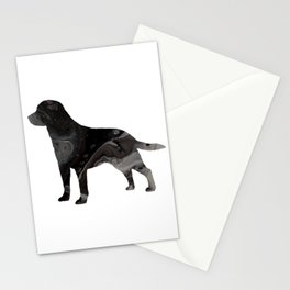 Labrador Retriever Black Fluid Abstract Art - Lab Image Stationery Cards