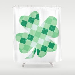 Checkered Shamrock. Four Leaf Clover. St Patrick's Day Shower Curtain