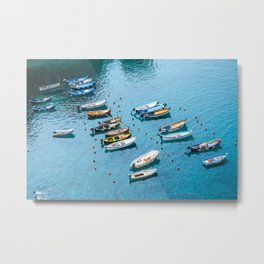 Colorful boats in the harbor of Cinque Terre, Italy | All blue | Summer has started | Italian art prints Metal Print