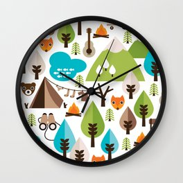 Wild camping trip with fox and wild animals illustration Wall Clock