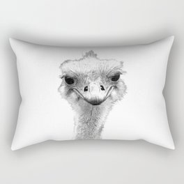 Black and White Ostrich Illustration Rectangular Pillow