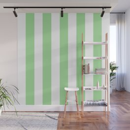 Granny Smith apple green - solid color - white vertical lines pattern Wall Mural