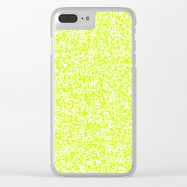 Tiny Spots - White and Fluorescent Yellow Clear iPhone Case