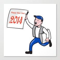 New Year 2014 Newspaper Boy Showing Sign Cartoon Canvas Print