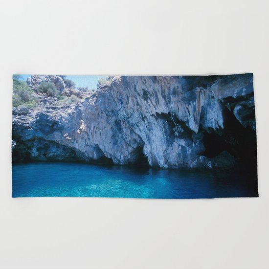 NATURE'S WONDER #5 - BLUE GROTTO (Turkey) #2 #art #society6 Beach Towel