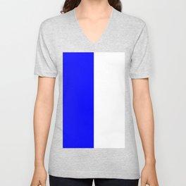 White and Blue Vertical Halves Unisex V-Neck