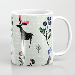 Berry loving deers on a green background Coffee Mug